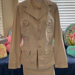 Lane Bryant/Venzia cream color safari skirt suit